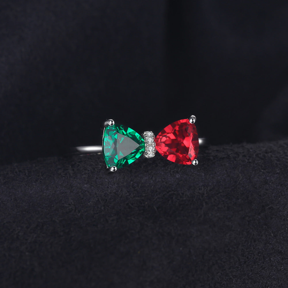 Red Created Ruby Ring Genuine 925 Sterling Silver