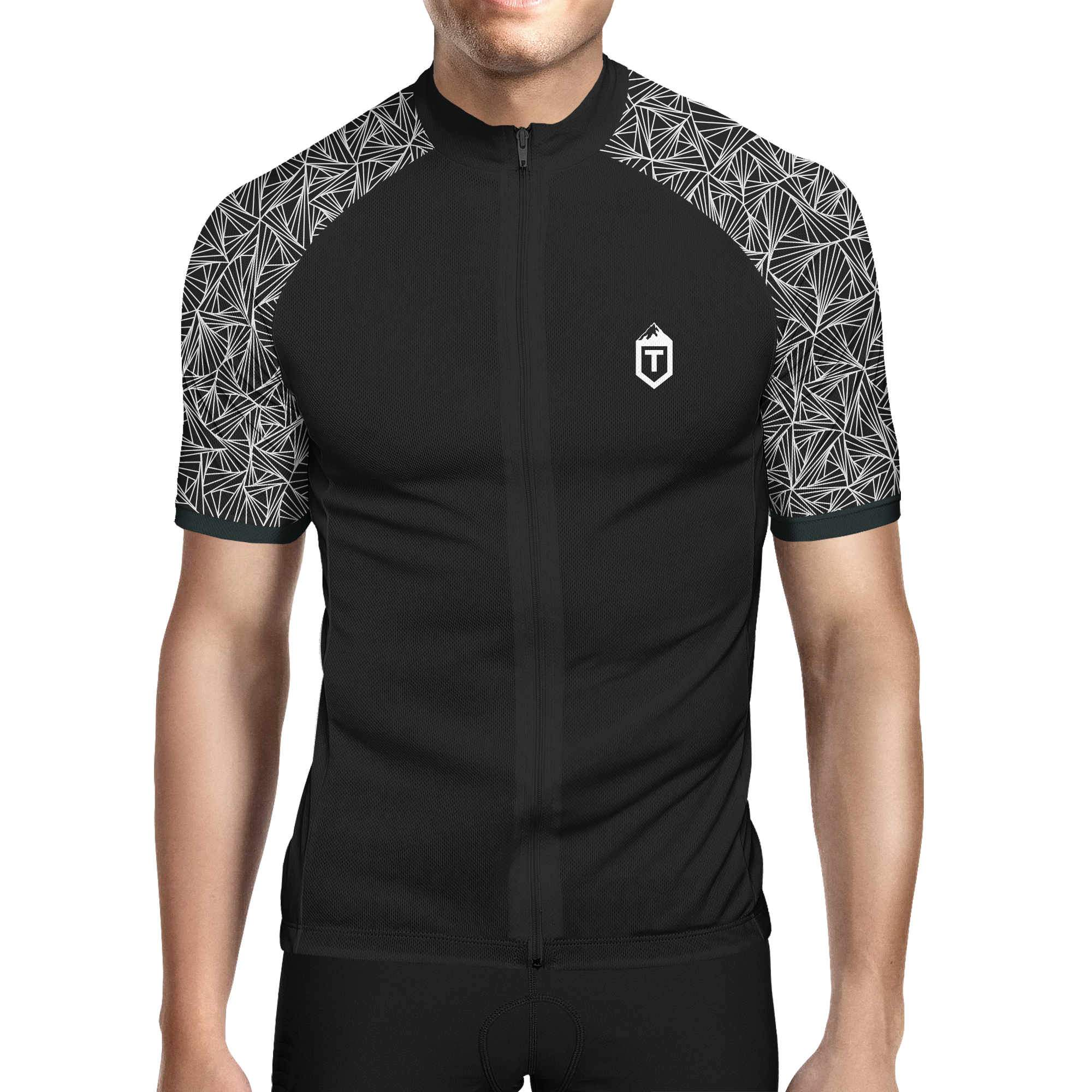 Mens Triangles Jersey - Black / White Front