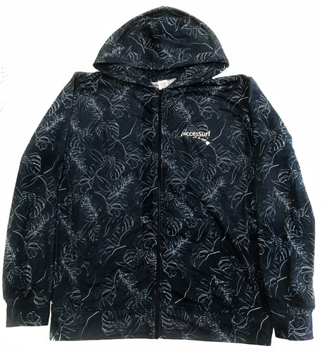 Hoodie- Zip-Up Black/White Leaves