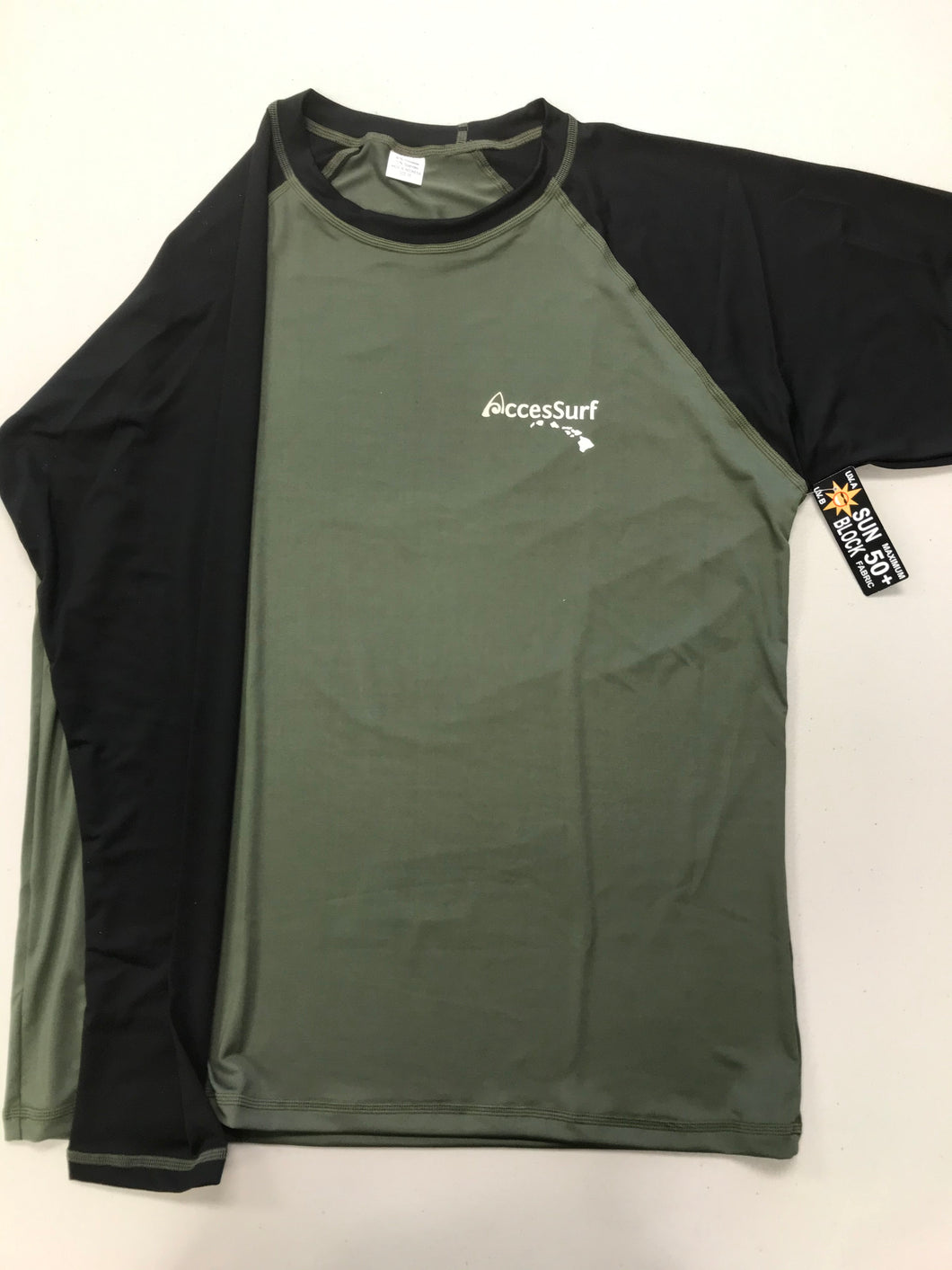 Rash Guard/Sun Shirt-  Army Green/Black Sleeve