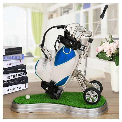 Novelty Golf Gift Set with 3 Pieces Aluminum Pen and Golf Bag Pen Holder