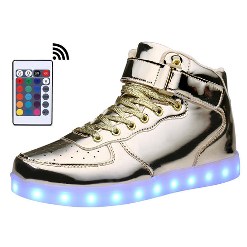 Adult & Kids USB Charging High Top LED Shoes Light Up Flashing Sneakers Glowing Light Shoe