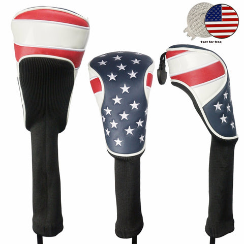 USA FLAG Golf Head Cover for 1# Driver Headcover, 3#, 5# Fairway Wood