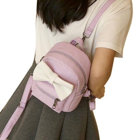 Women's Leather Shoulder School Backpack