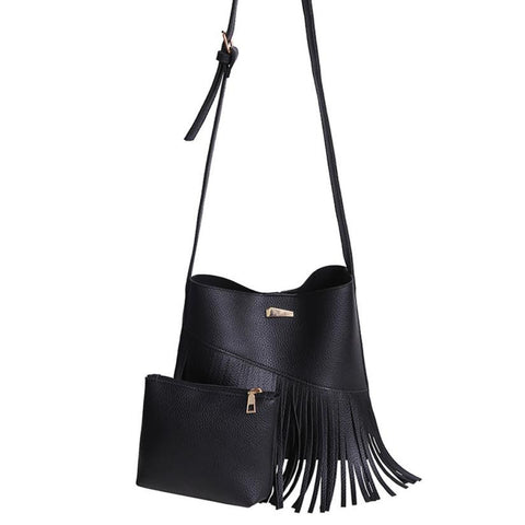 Women's Fashion Leather Cross Body Tassle Bag