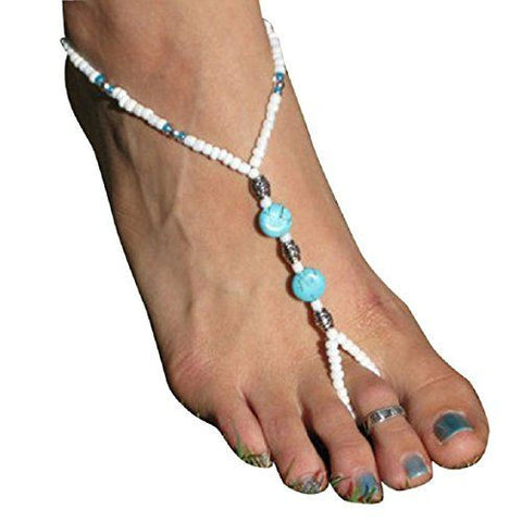 Turquoise Beads Stretch Barefoot Anklet Chain