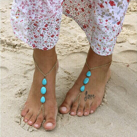 Turquoise Beaded Stretch Barefoot Anklet Chain