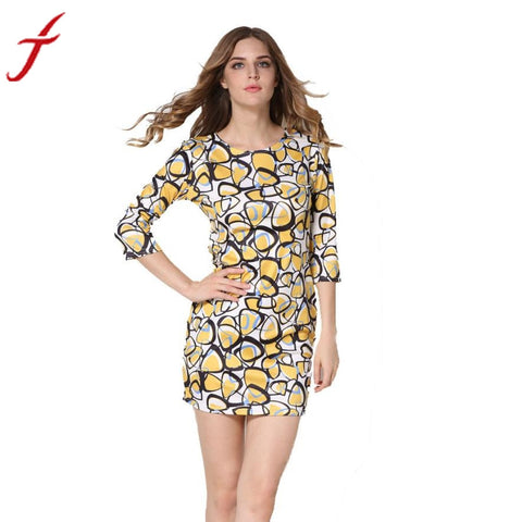 Fashion New Dress Women Sexy Floral Printed Three Quarter Plus Sise Evening Party Sundress Colorful Beach dresses Tunic Vestidos