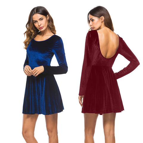 Sexy Women Dress Long Sleeve Backless Dress Party Evening Porm Skater Mini Dress