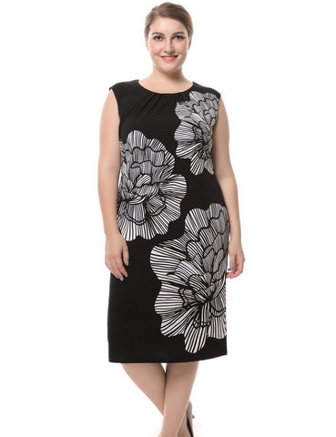 Chicwe Women's Lined Plus Size Floral Printed Dress Sleeveless US16-28