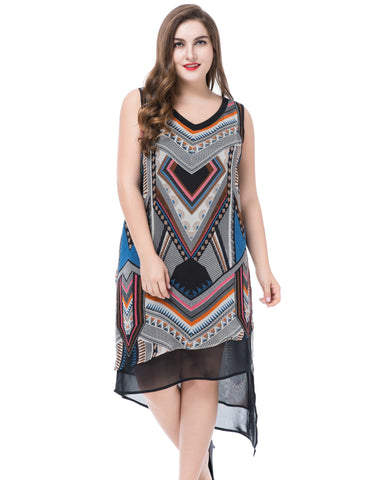 Chicwe Women's Plus Size Multi Layer Printed Dress Sleeveless US16-26