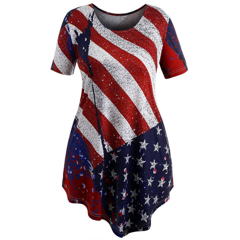 Women Short Sleeve Flag Print Irregular Swing Blouse Tops Colorful T Shirt