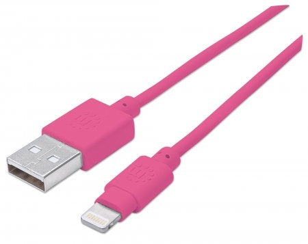 INTELLINET/Manhattan 394222 iLynk Lightning Cable  3ft PINK, Stock# 394222