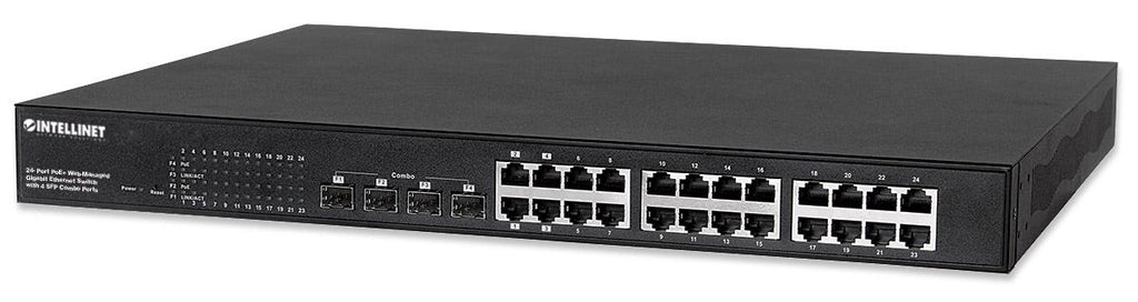 Intellinet 24-Port Gigabit Ethernet PoE+ Web-Managed Switch with 4 SFP Combo Ports, Part# 561372