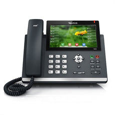 Yealink ~ Ultra-Elegant Color TouchScreen Gigabit Bluetooth HD Voice IP Phone w/ (4-Port POE Switch, 4 POE Ports, 4 Extra Coil Cords) ~ Stock# SIP-T48G ~ NEW
