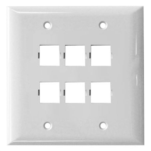 Suttle 2-2506D-85 6-port faceplate, double gang, smooth finish - White, Stock# 2-2506D-85