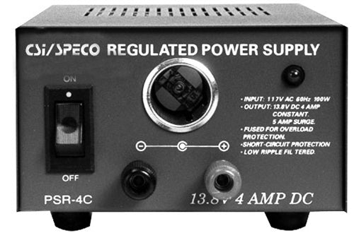 SPECO PSR4C 4 Amp Regulated 12VDC Power Supply with Cigarette Lighter Adapter, Stock# PSR4C