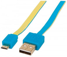 INTELLINET/Manhattan 391436 Flat Micro-USB Cable 3ft Blue/ Yellow, Stock# 391436
