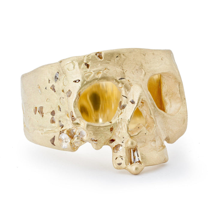 White Confetti Skull Ring