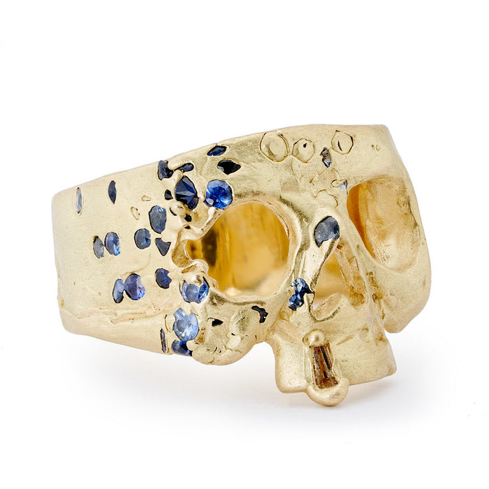 Blue Confetti Skull Ring