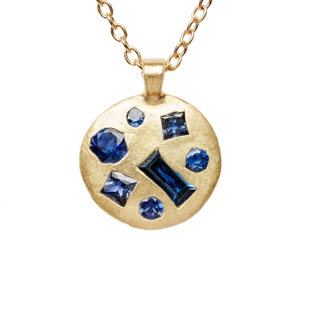 Blue Mix Cut Medium Celeste Necklace