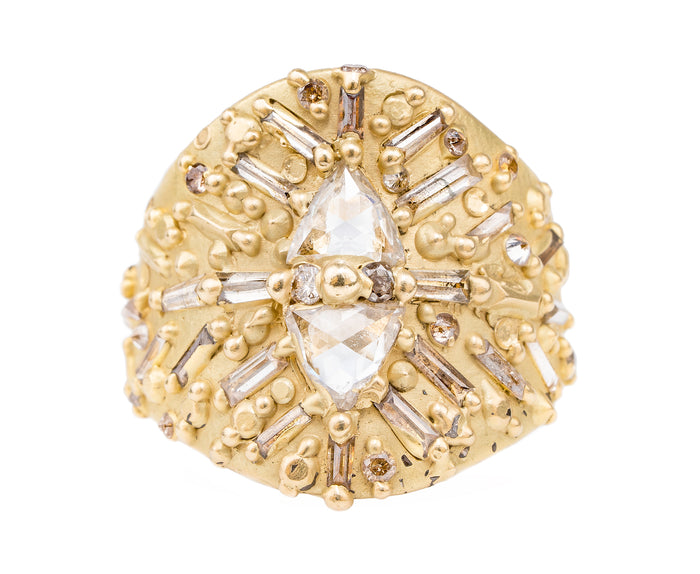 The Trillion Diamond Ourika Shield Ring - PollyW