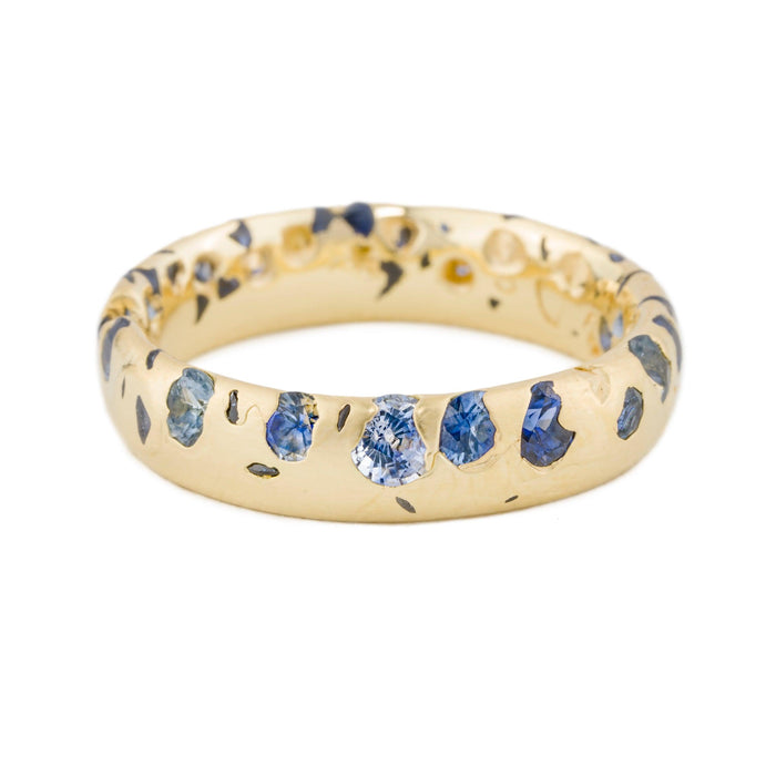 Wide Blue Confetti Ring