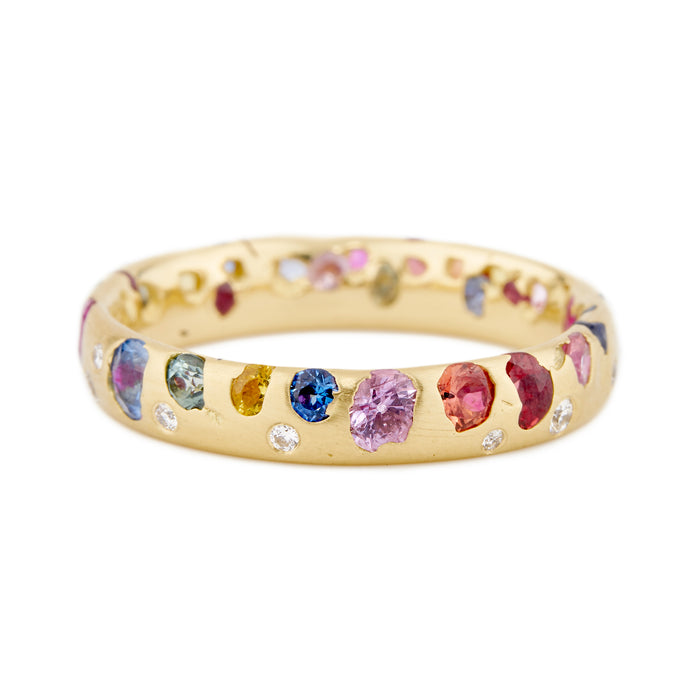 Rainbow Confetti Ring with Diamonds