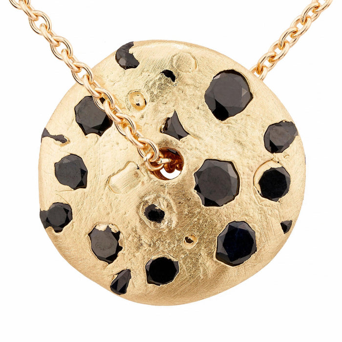 Spinning Disc Pendant with Black sapphires