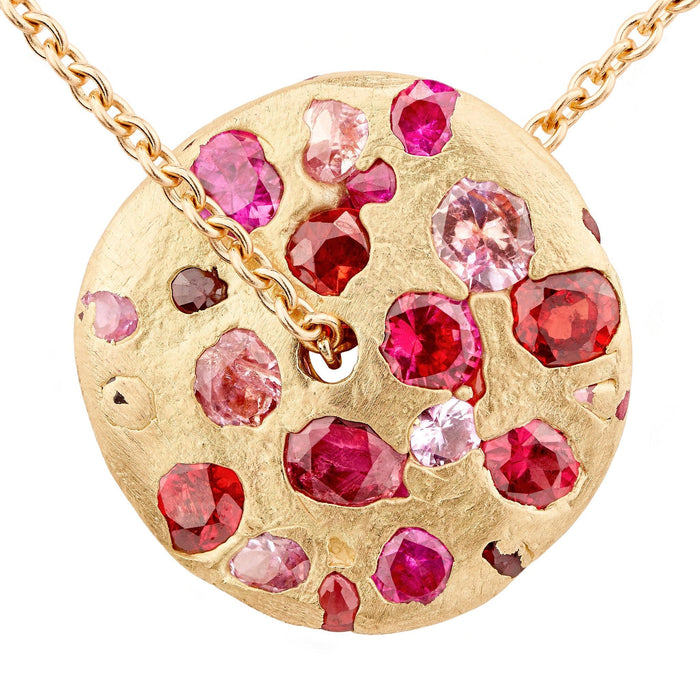 Spinning Disc Pendant  with Cherry Blossom sapphires