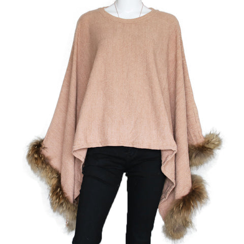 Khaki Lightweight Poncho with Raccoon Fur Trim - paulamarie