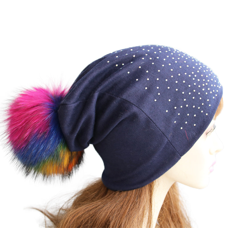 Jeweled Jersey Beanie with Removable Multicolor Fox Pom - paulamariecollection