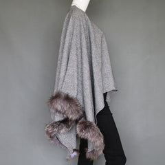 Grey Lightweight Poncho with Silver Fox Fur Trim - paulamariecollection