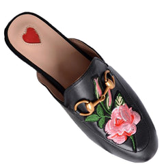 Leather Flats with Rose Design - paulamariecollection
