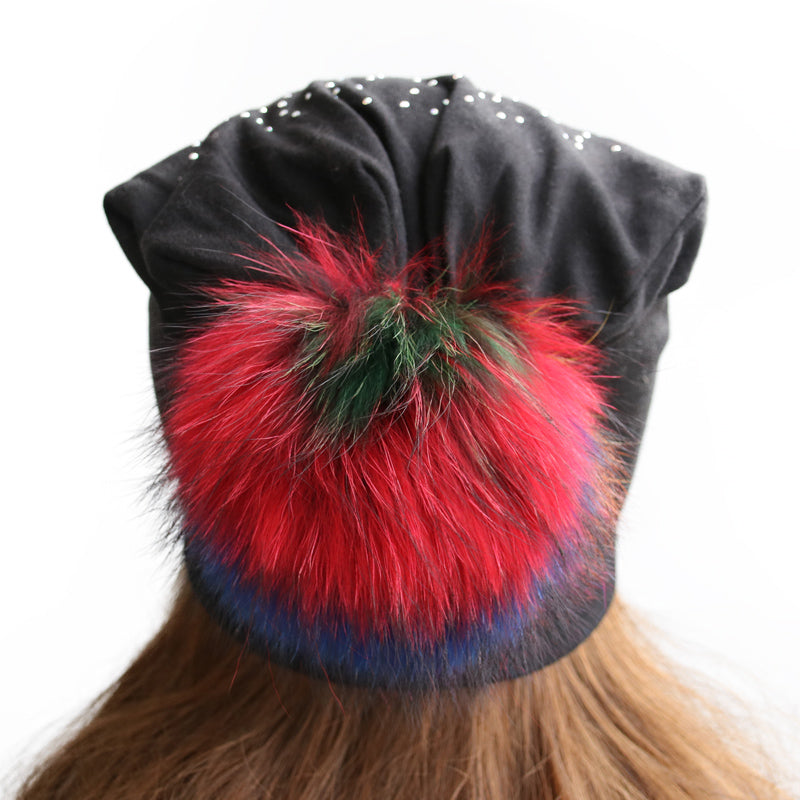 Jeweled Jersey Beanie with Removable Multicolor Fox Pom - paulamarie