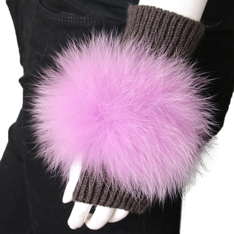 Grey Cashmere Fingerless Gloves with Fox Fur Pom - paulamarie