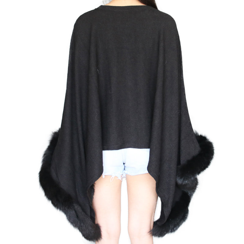 Black Lightweight Poncho with Rex Rabbit Fur Trim - paulamarie