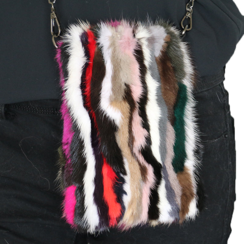 Mink Fur Multicolor Crossbody Purse - paulamariecollection