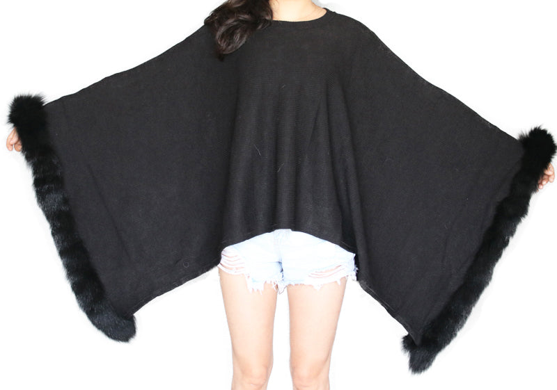 Black Lightweight Poncho with Rex Rabbit Fur Trim - paulamariecollection