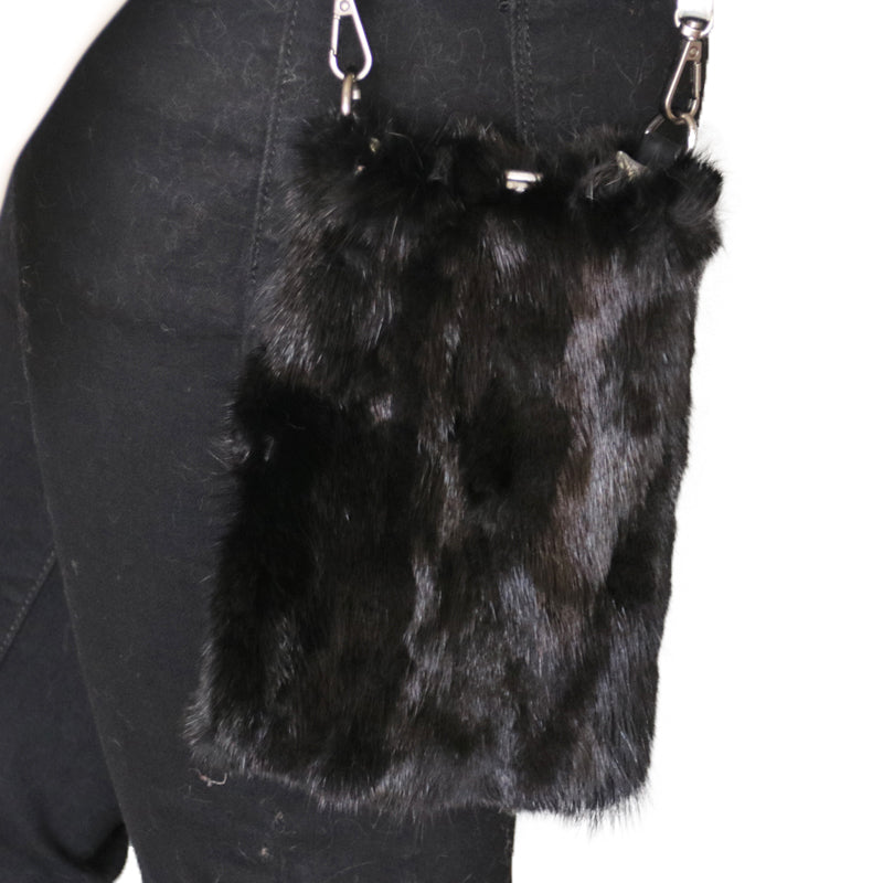 Reversible Mink Fur and Metallic Leather Crossbody Purse - paulamarie