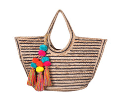 Raven Stripe Eco-Friendly Jute Tote with Pom Pom Tassels - paulamariecollection