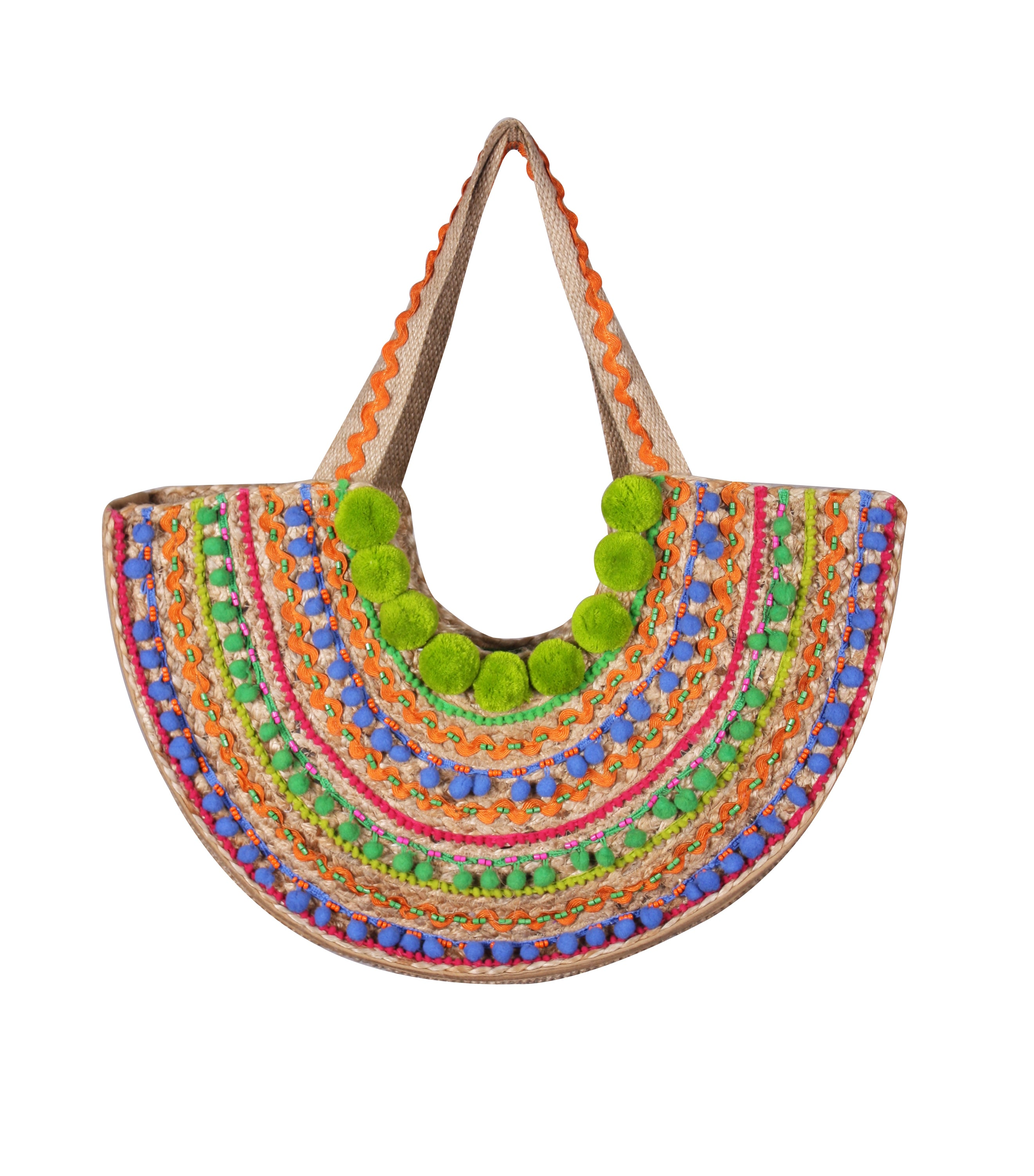 Pom Pom Fiest Jute Tote Bag - paulamariecollection