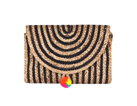 Raven Stripe Eco-Friendly Jute Clutch - paulamarie
