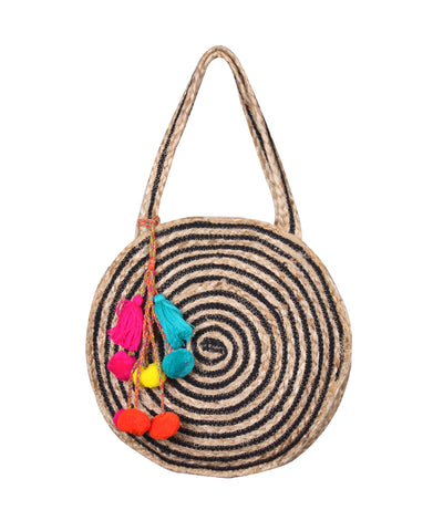 Raven Stripe Eco-Friendly Jute Round Shoulder Bag - paulamariecollection