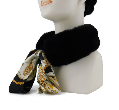 Black Rex Rabbit Scarf with Black/Gold Silk Ribbon - paulamariecollection