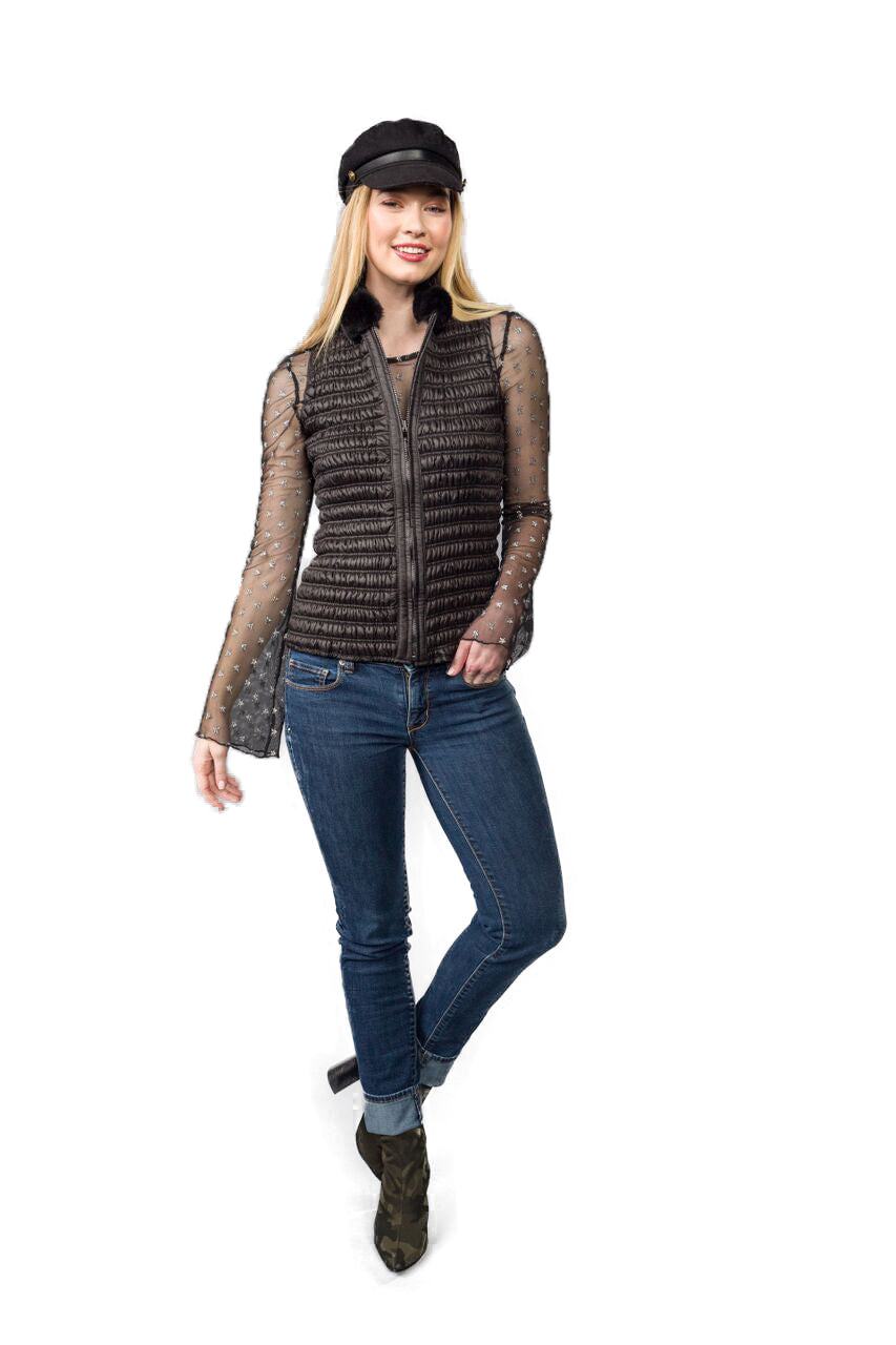 Quilted Stretch Vest with Rex Rabbit Collar - paulamariecollection