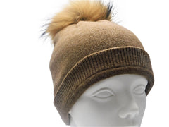 Cashmere Beanie with Raccoon Fur Poms - paulamarie