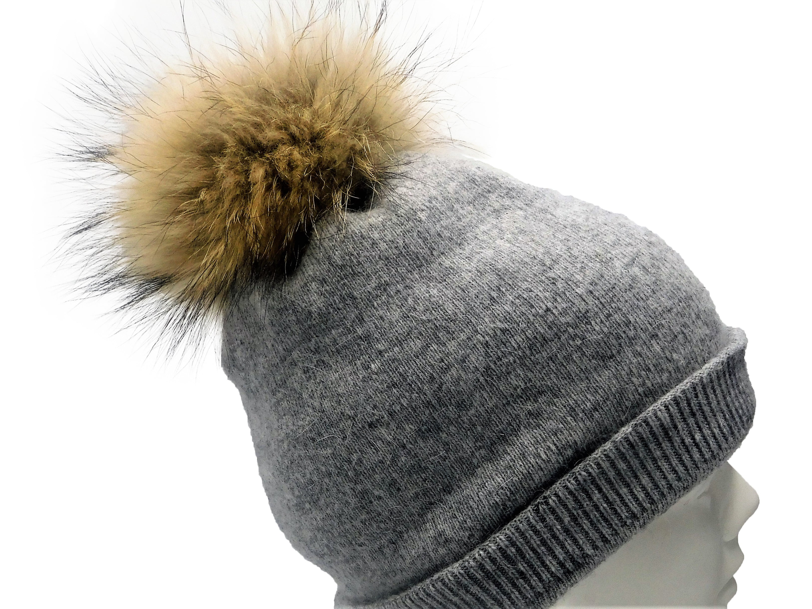 Cashmere Beanie with Raccoon Fur Poms - paulamariecollection