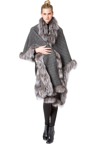 THE REINBECK Cashmere Reversible Cape with Silver Fox Fur Trim - paulamariecollection