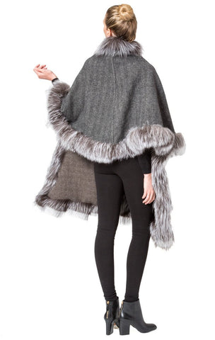 THE RIENBECK Cashmere Reversible Cape with Silver Fox Fur Trim - paulamarie